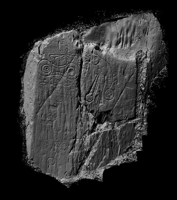 2012 Laser Scan Survey of Inscribed Symbols at Trusty's Hill. Copyright of the Dumfriesshire and Galloway Natural History and Antiquarian Society.